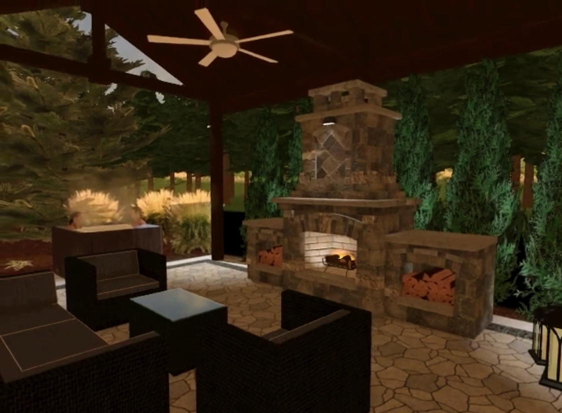 Sketch of covered outdoor seating area with fireplace